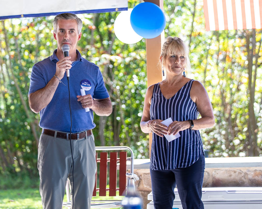 Bucks County Commissioners Diane Marseglia and Bob Harvie encourage residents to volunteer