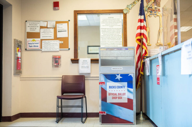 Ballot Drop Box inside the Bucks Countb Board of Elecvtions Office in Levittown PA