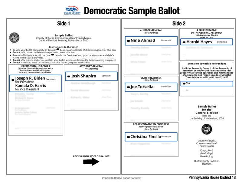 2020 General Election Sample Ballot for HD-18
