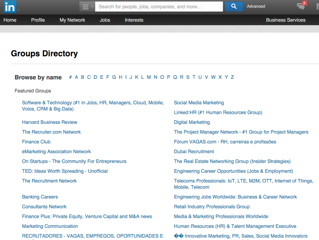 A screenshot of the LinkedIn Groups Directory
