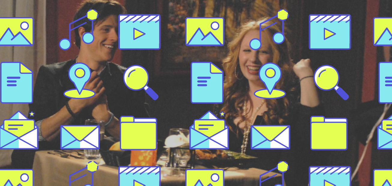 A picture of a couple having fun on a date with media icons overlaying the image
