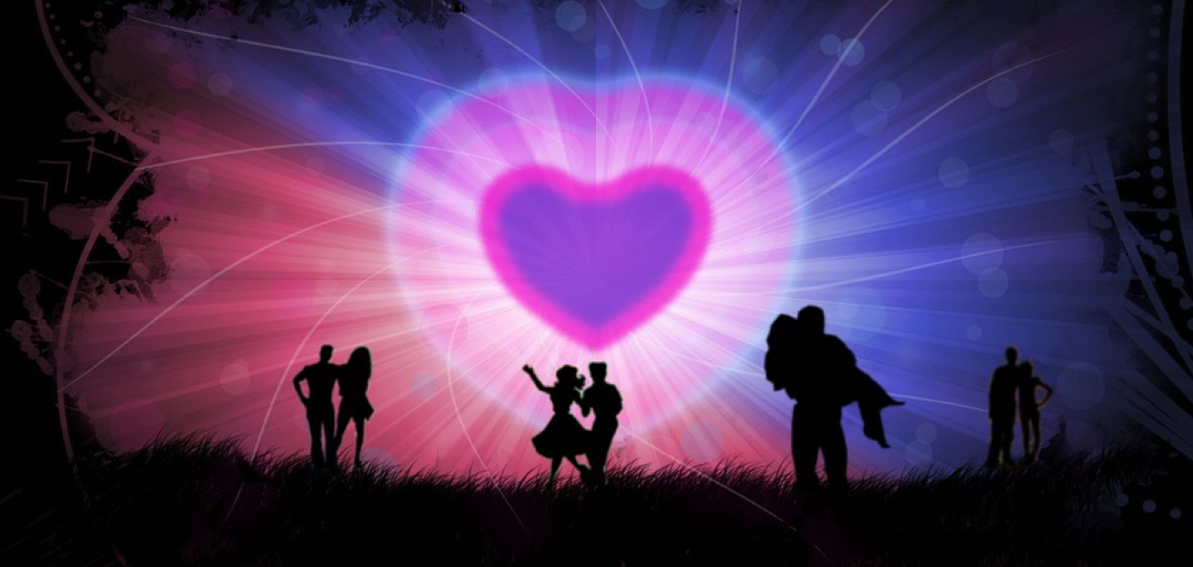 A big purple heart and silhouettes of couples dancing in the night