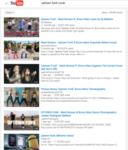 Searching for 'Uptown Funk Cover' on YouTube yields many videos that have gone viral