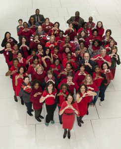 Food and Drug Administration employees celebrating Wear Red Day