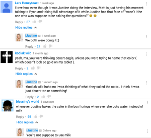 A bunch of very responsive YouTube comments from influencer, iJustine