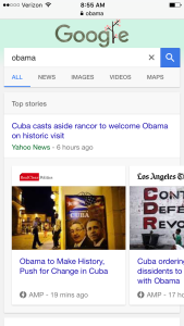 Accelerated Mobile Pages are returned at the top of a mobile search results