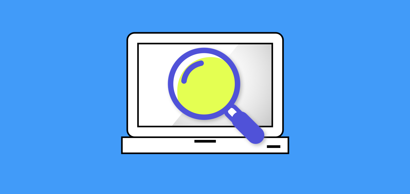 A sleek computer outline with an overlaying search magnifying glass