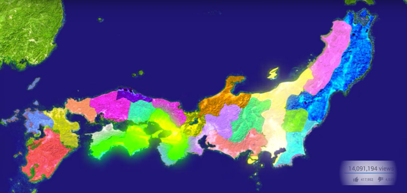 "An image of Japan with different territories lit up in colorful ways. Screenshot from the ""history of japan"" viral video."