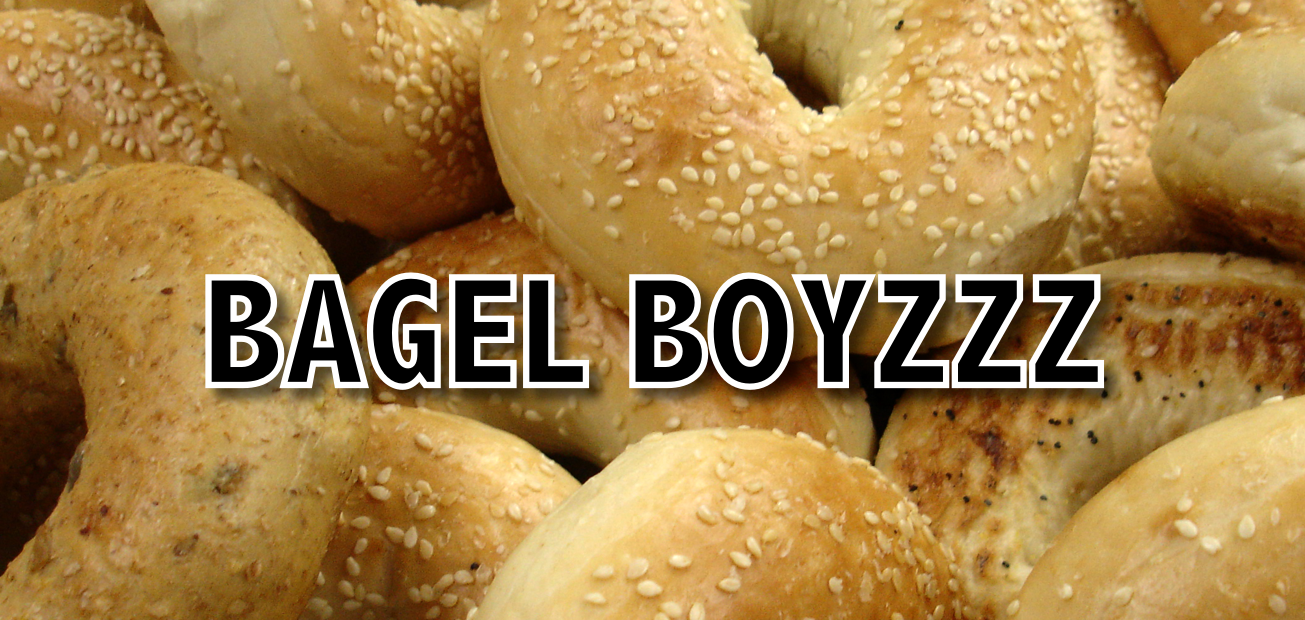 """Bagels with the text """"BAGEL BOYZZZ"""" overlaid"""