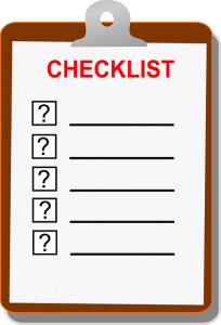 A checklist on a clipboard.