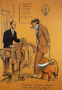 A clothes vendor trying to sell clothes to a fickle prospect with a well-dressed dog