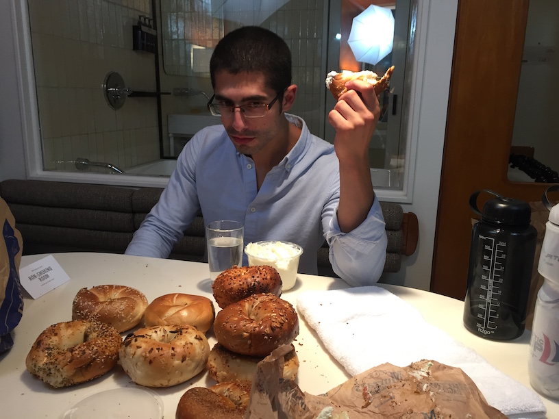 Micheal Sorace having trouble eating so many bagels