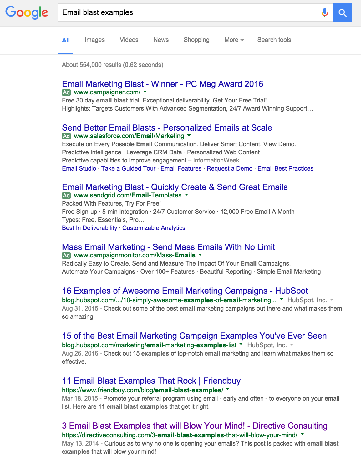 The Google search results for 'email blast examples' shows the author's article on the front page
