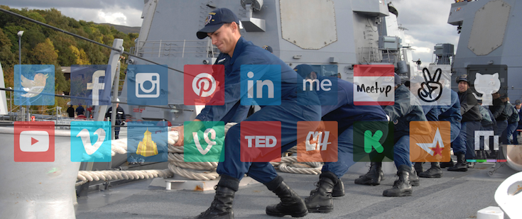 Social media icons overlaying an image of sailors in an intense act of teamwork.