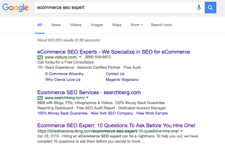 The Google search results for 'ecommerce seo expert' shows the author's article on number 1 the front page