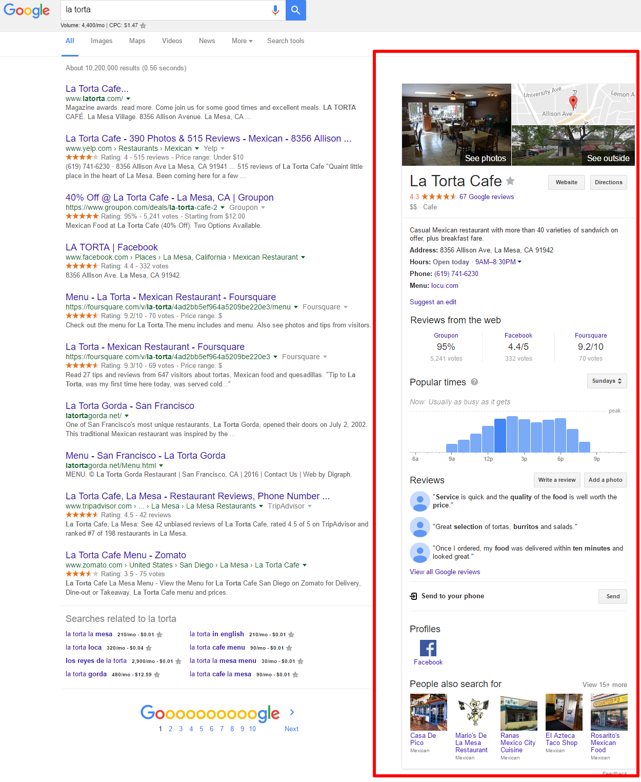What a Google My Business listing looks like on Google: the business gets a lot of space on a search engine results page!