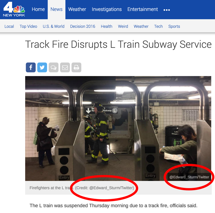 NBC 4 giving me credit for the photo