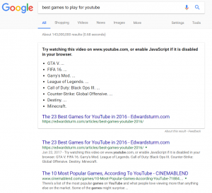 The above the fold SERP for 'best games to play for youtube' query