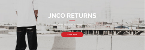 JNCO Jeans promotional header shows a man standing at the California beach, staring at the promenade
