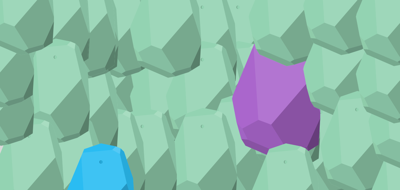 Green estimote beacons layered on each other to create a beautiful pattern