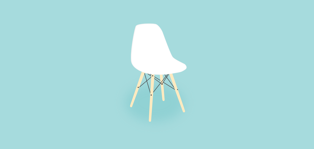A lightweight, bright, modern chair in front of a light blue cyclorama wall