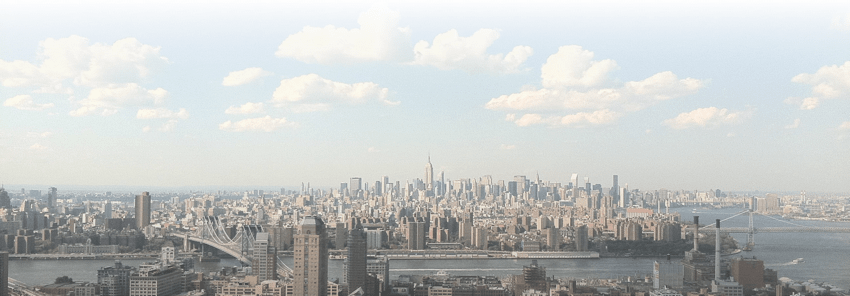 The New York City skyline on a beautiful Summer day