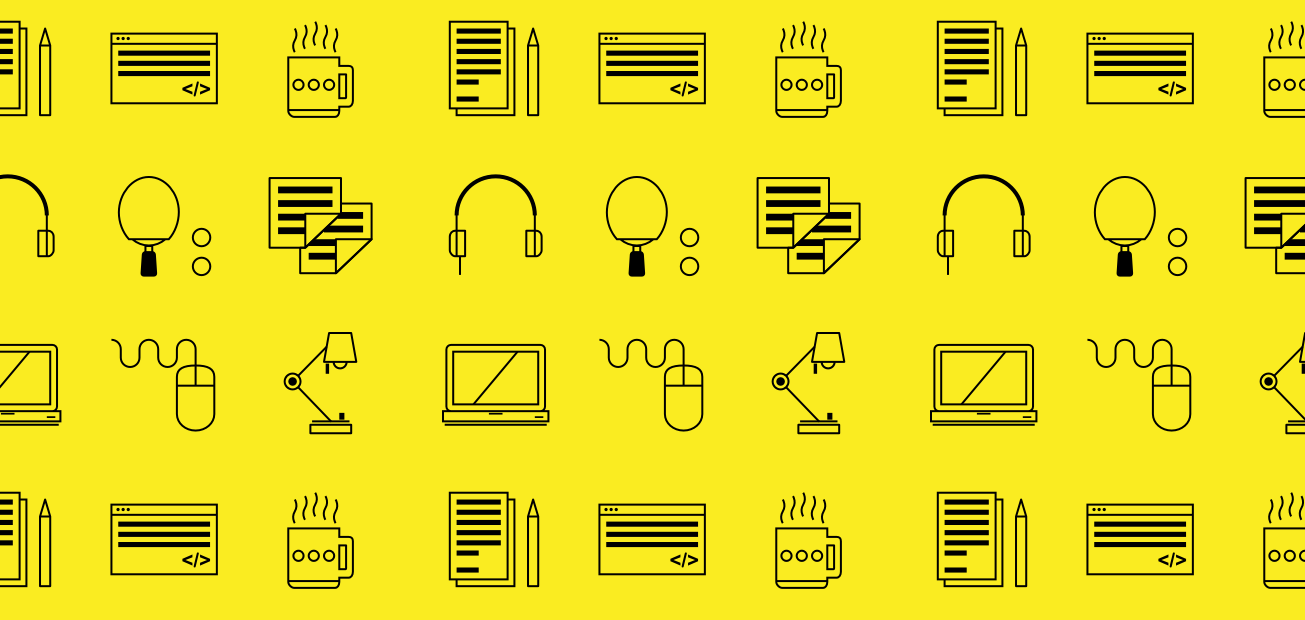 Startup related icons over a yellow background