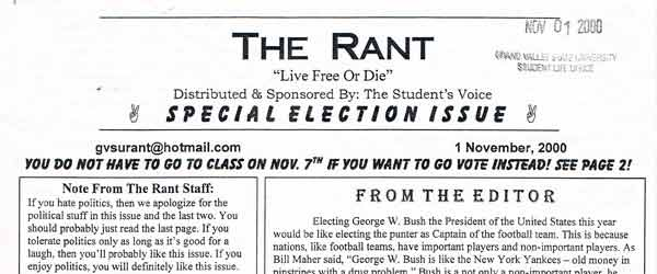 Found Object: The Rant, dated November 1, 2000