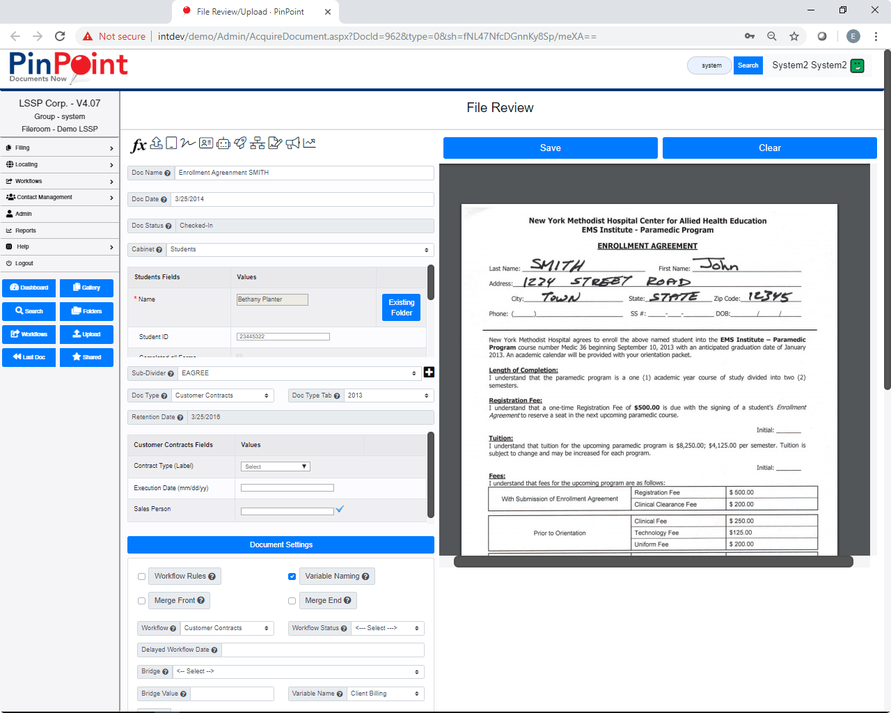 Document Management Software - PinPoint File Review Screen