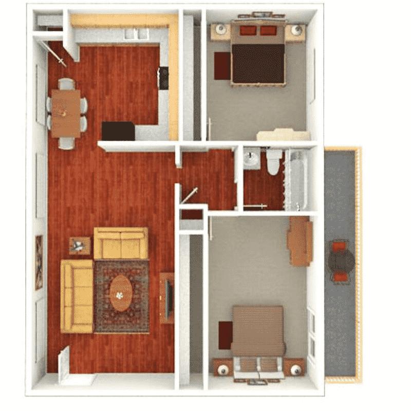 2 BED, 1 BATH FLAT 1,012 Sq. Ft. floor plan