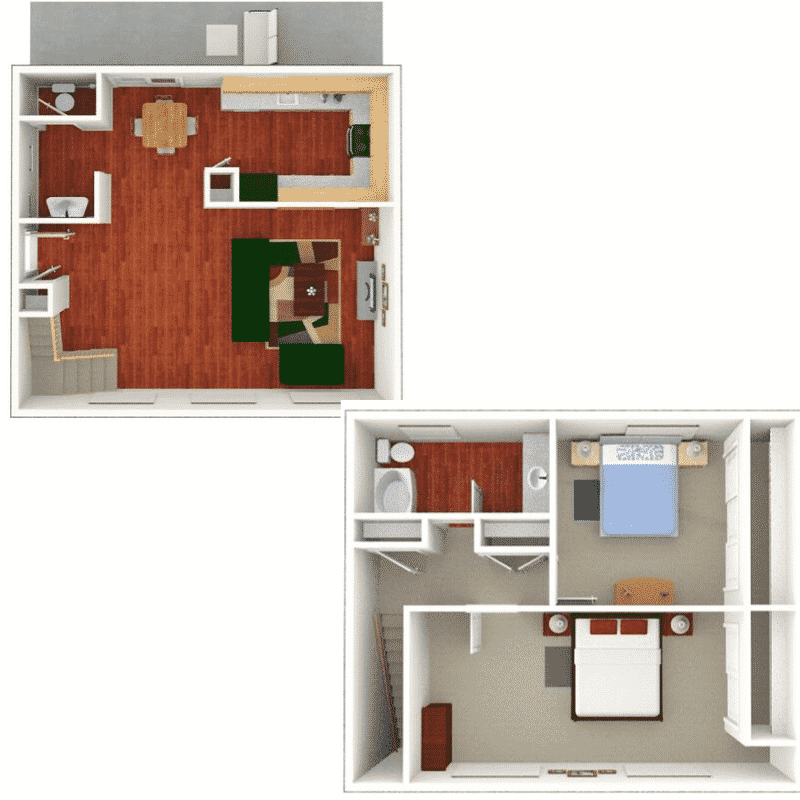 2 Bed 1.5 Bath Townhome  1,058 Sq. Ft.  floor plan