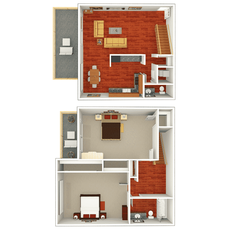 2 Bed, 1.5 Bath townhome 1,058 Sq. Ft. floor plan