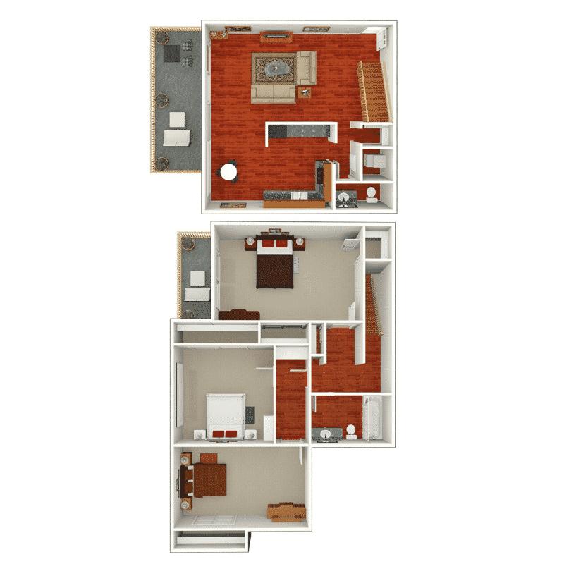 3 Bed, 1.5 Bath Townhome 1,197 Sq. Ft. floor plan