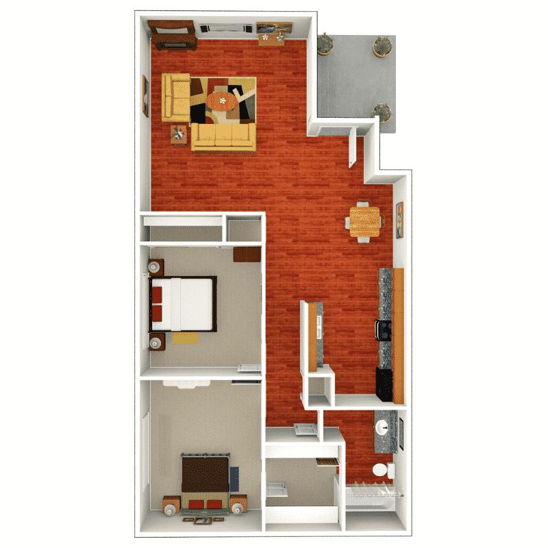 2 Bed, 1 Bath 1,012 Sq. Ft. floor plan
