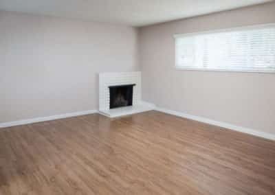 Empty living room with fireplace