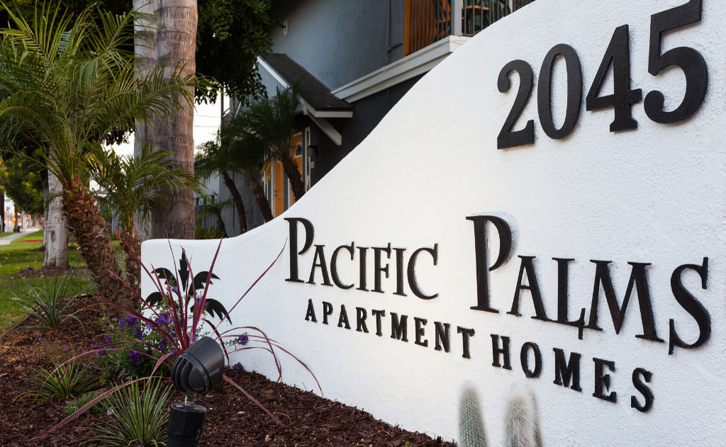 Pacific Palms Apartment Home Entrance Sign