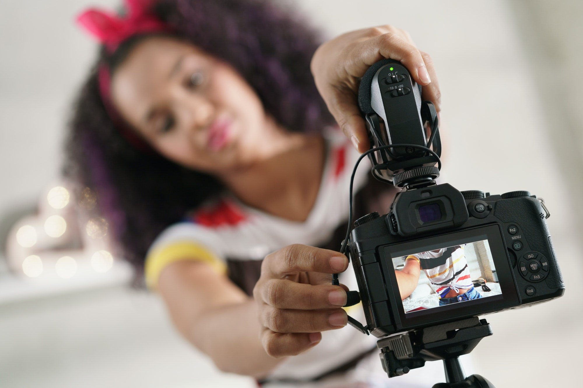 Dslr Camera For Woman Recording Vlog and Tutorial