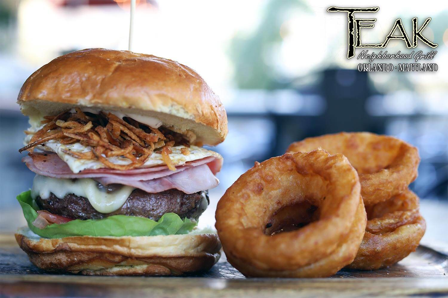 Brazilian Burger with Onion Rings