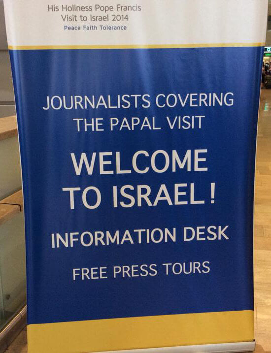Welcome sign for Papal visit to Jerusalem
