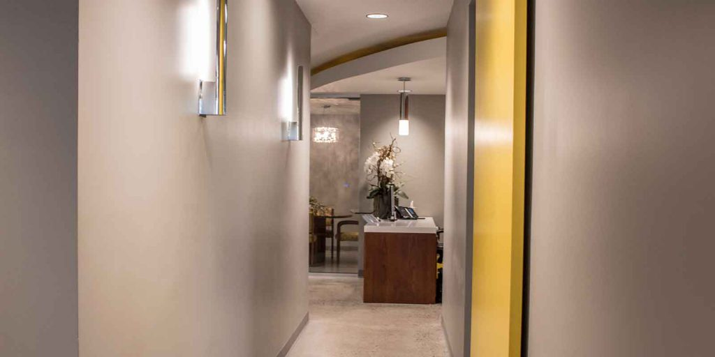 commercial drywall office hallway