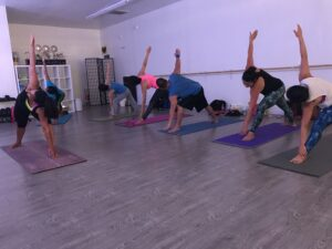 Group class, gentle yoga,Triangle Yoga Pose