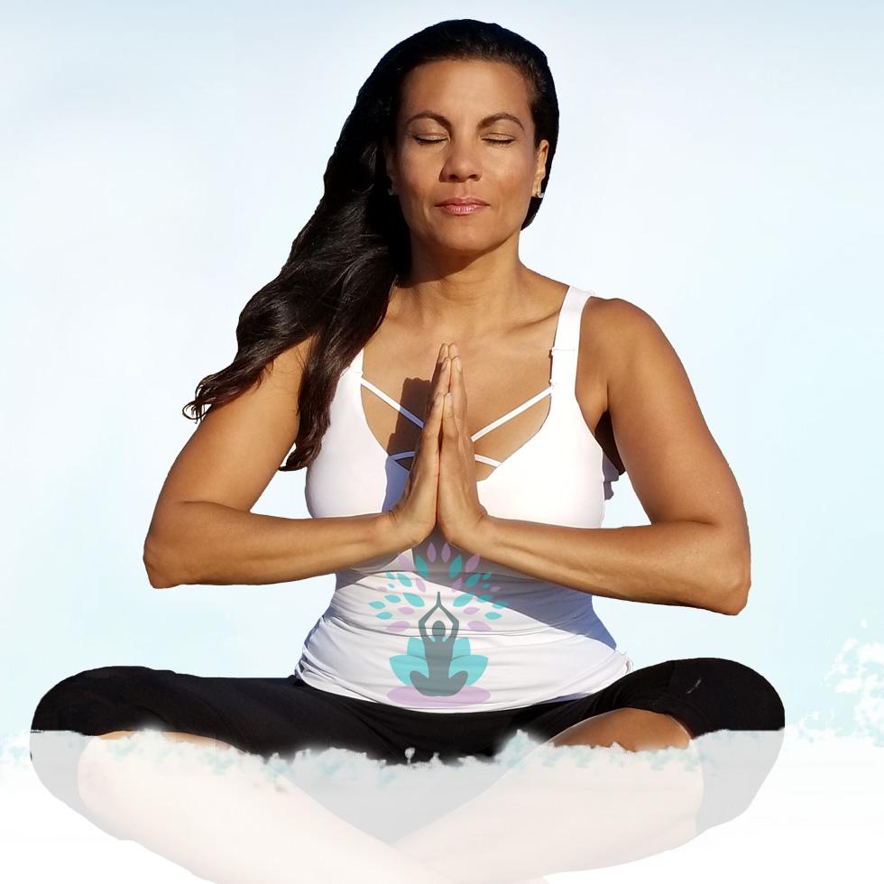 yoga, sky background, meditation, sitting, namaskar, eyes closed, peace, logo