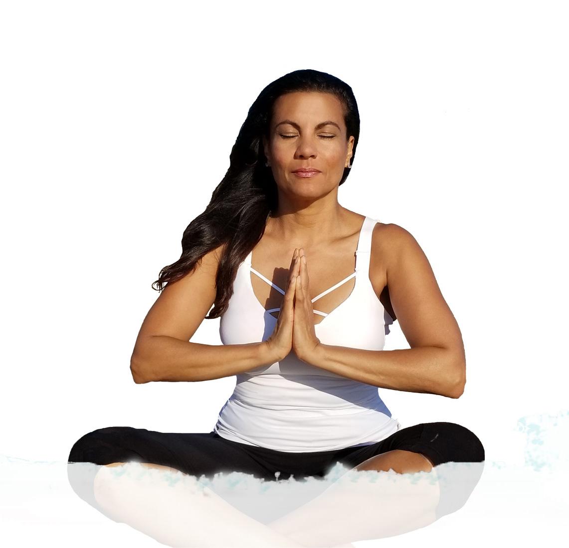 yoga, sky background, yoga meditation, sitting, namaskar, eyes closed, peace, logo