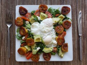 Plantain Salad with Poached Eggs