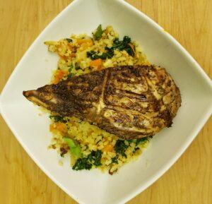 Swordfish over Tumeric Cauliflower Pilaf