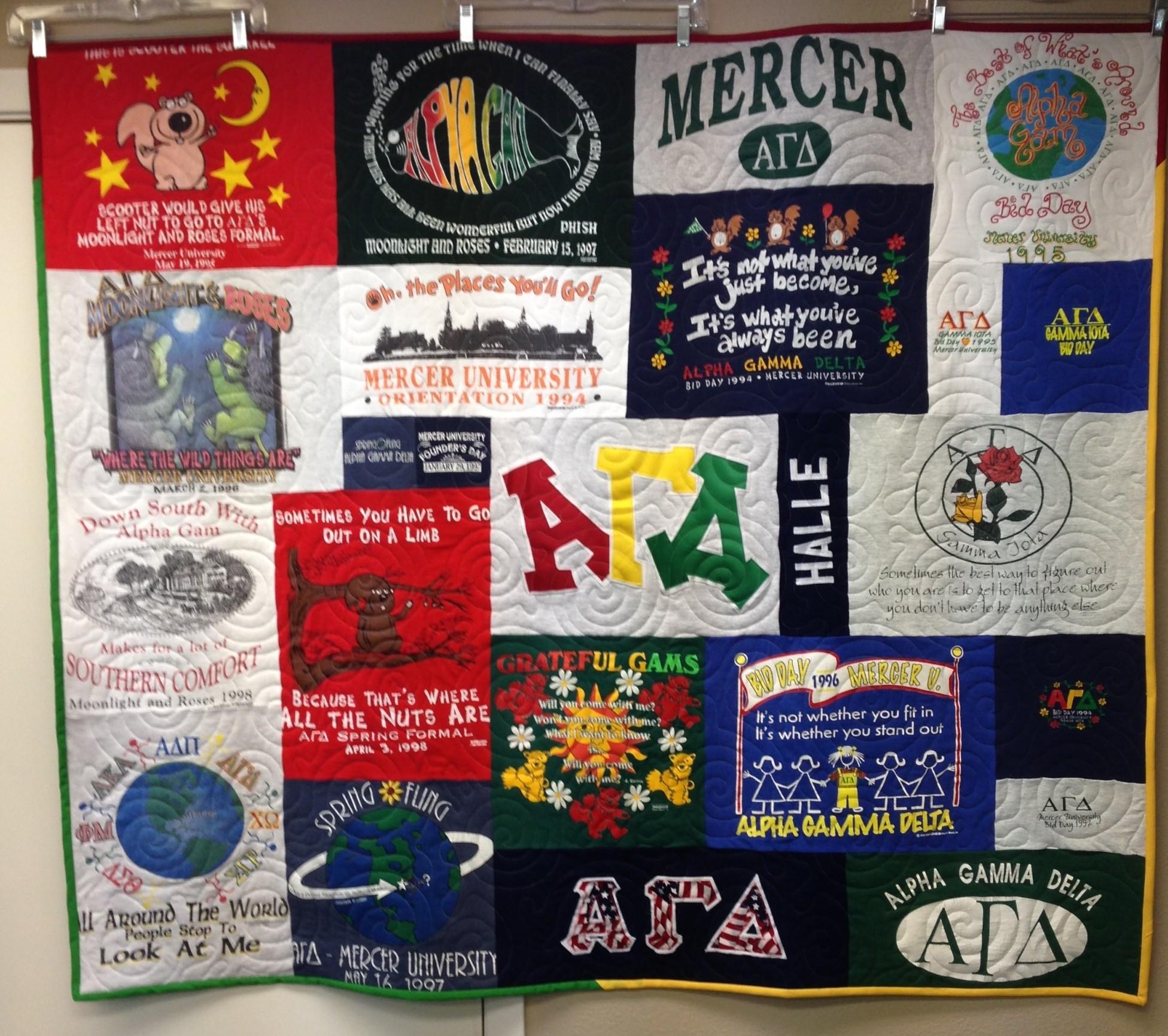 """""""Sorority t-shirt quilt"""",""""memory t-shirt quilt"""", """"mosaic t-shirt quilt"""" """"Campus Tshirt Quilt"""""""