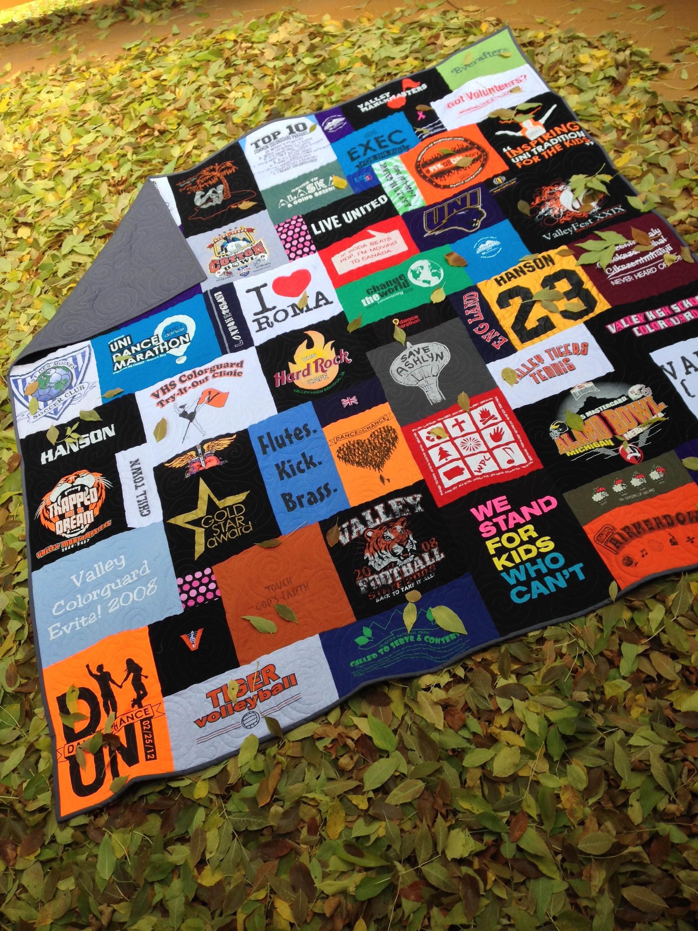 """""""College tshirt quilt"""", """"mosaic tshirt quilt"""", """"Tailgate t-shirt quilt"""" """"CampusTshirtQuilt"""""""