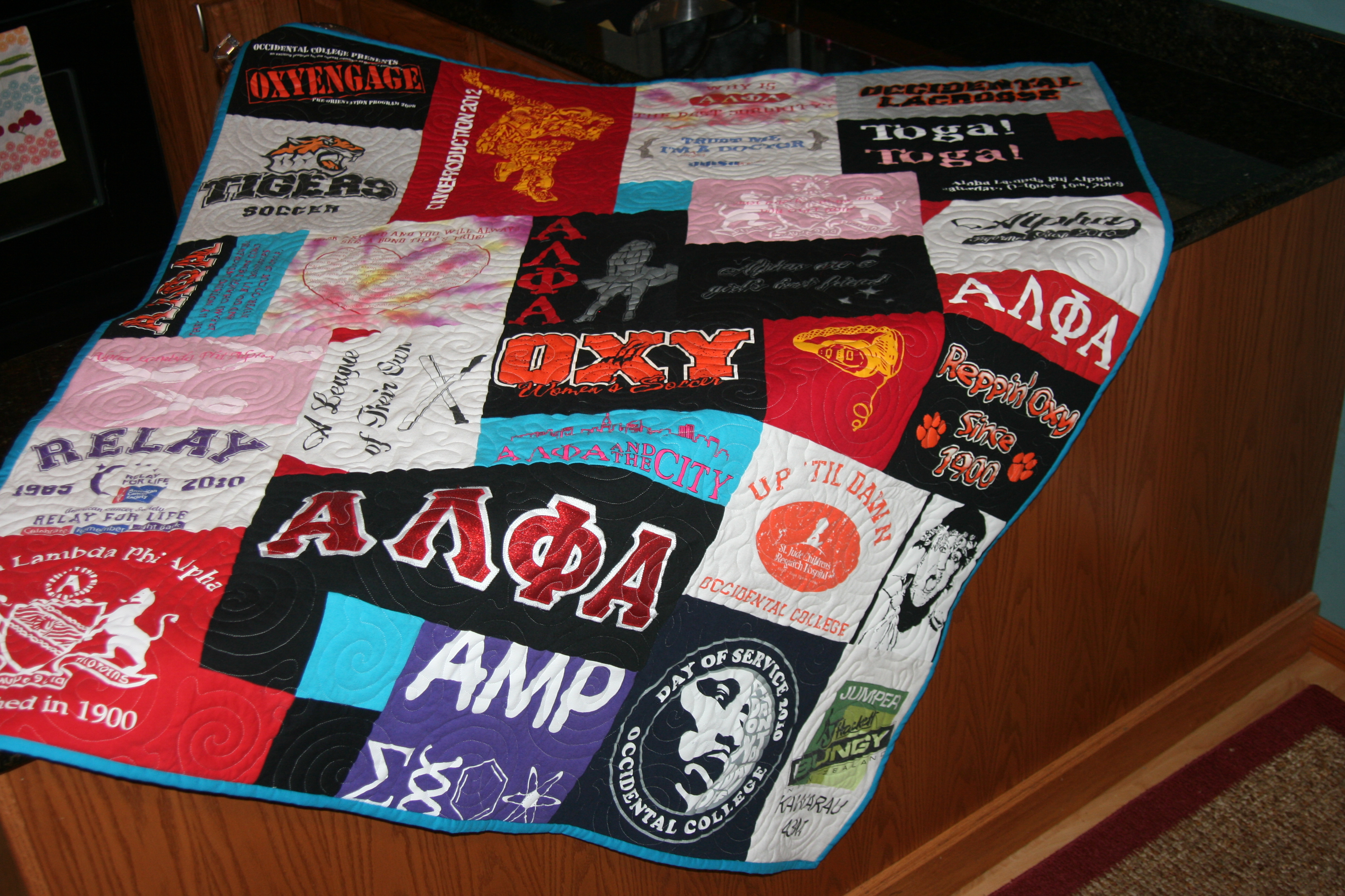 T-shirt quilts from sorority t-shirts