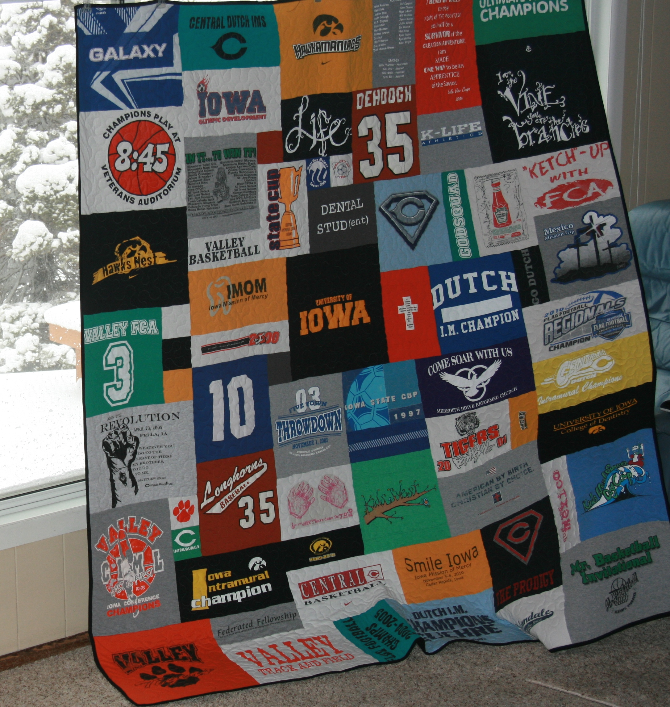 An example of a quality t-shirt quilt made by Campus T Shirt Quilts
