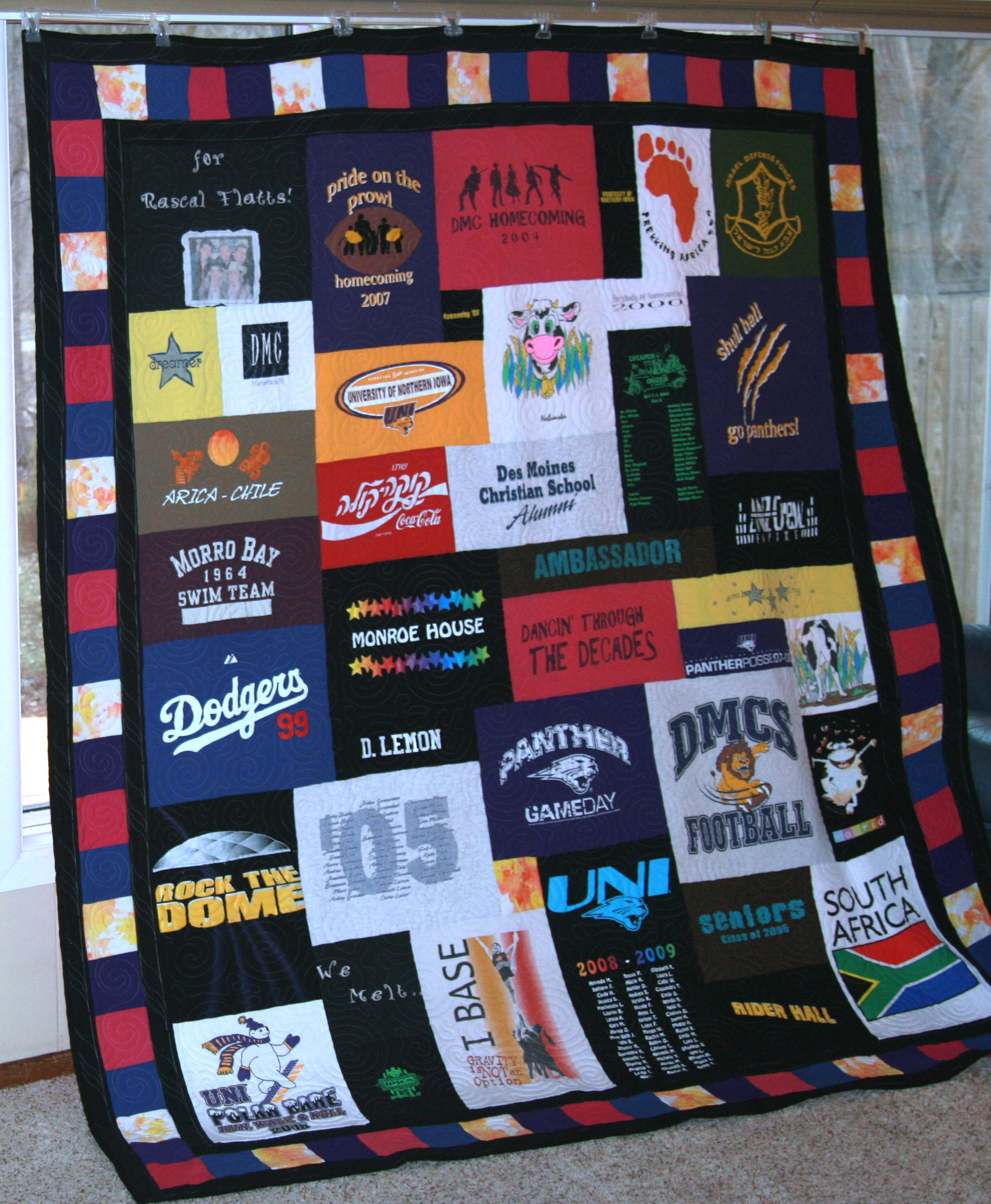 Anniversary t-shirt quilt. Made for a couple's second wedding anniversary. They met in high school and had wonderful memories from their t shirts.